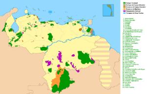 Mapa de áreas protegidas en Venezuela