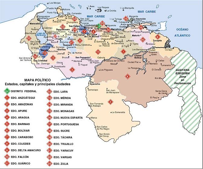 Mapa de estados de Venezuela